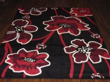 Modern Approx 7x5 150x210cm Woven Poppy Design Rugs Sale Top Quality Black/Red